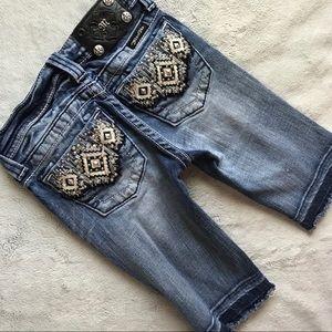 Miss Me Girls Bermuda Denim Jeans Shorts Bling